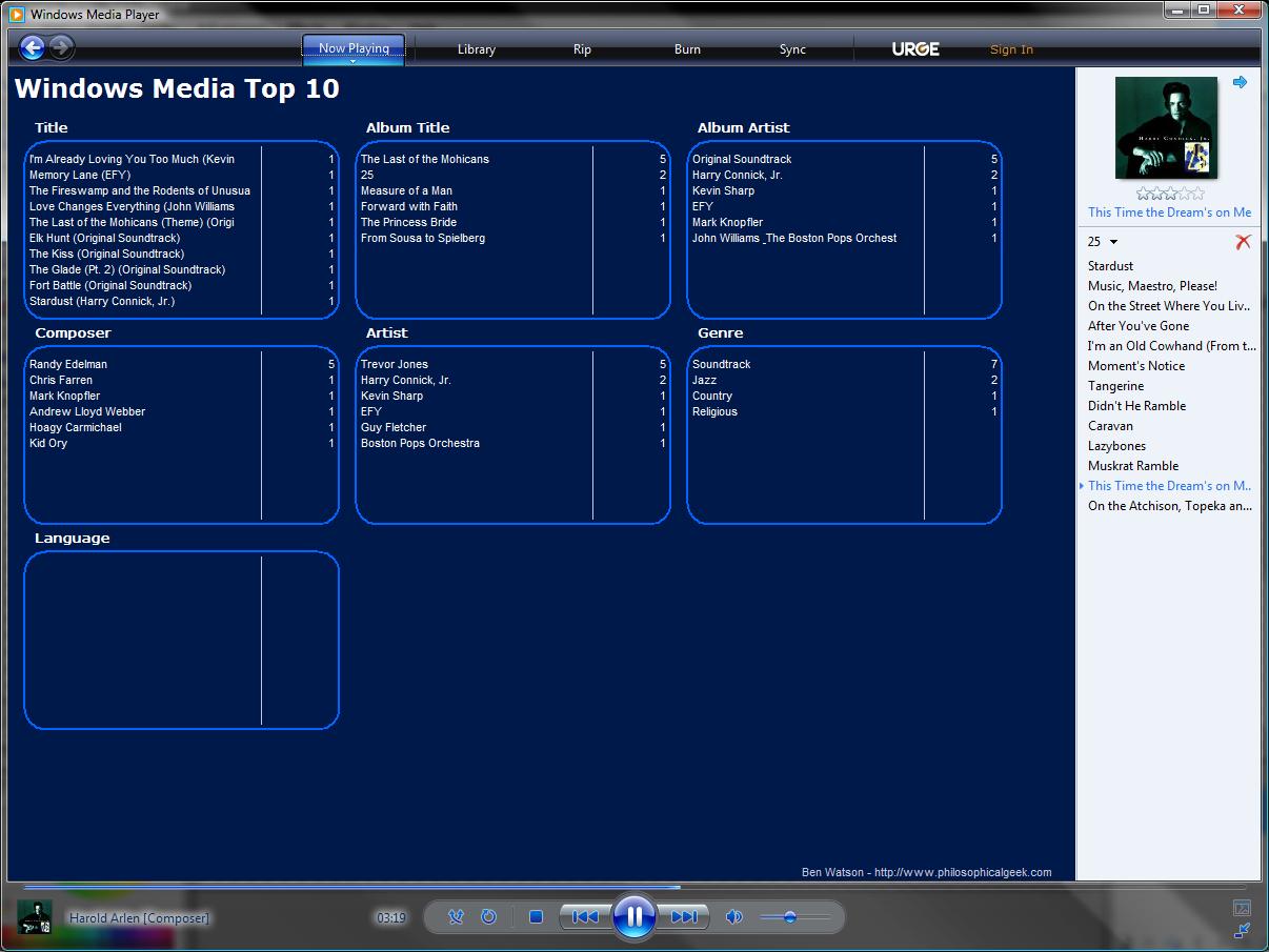 windows media top 10 plugin